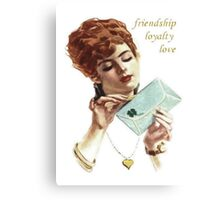 Beautiful Young Woman Holding Love Letter Vintage Vector Canvas Print