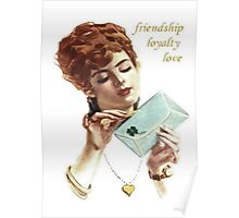 Beautiful Young Woman Holding Love Letter Vintage Vector Poster