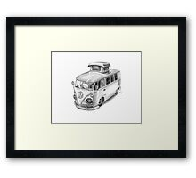 VW Type 2 Bus Split Screen Pop Top Framed Print