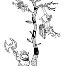 four characters and a tree by mindriot