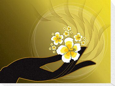 Buddha's Hand and White Hibiscus by fatfatin