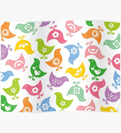 Retro Rainbow Chicks Poster