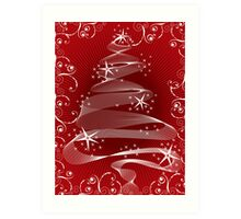 Abstract Red X'mas Tree and Swirls Art Print