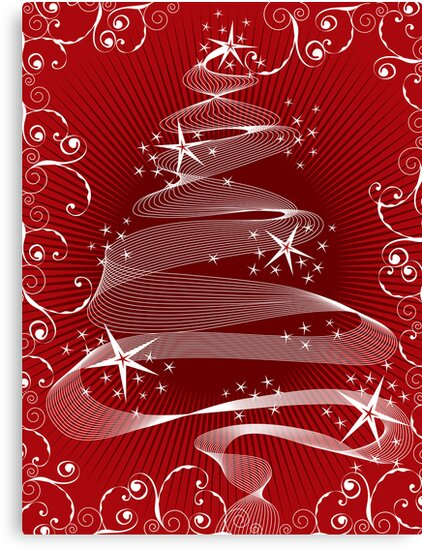 Abstract Red X'mas Tree and Swirls by fatfatin
