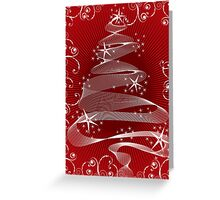 Abstract Red X'mas Tree and Swirls Greeting Card
