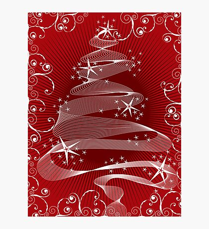 Abstract Red X'mas Tree and Swirls Photographic Print
