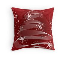 Abstract Red X'mas Tree and Swirls Throw Pillow