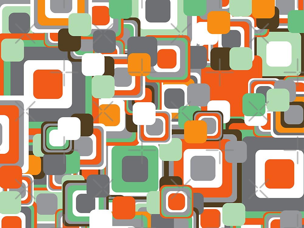 Retro Orange and Mint Squares Pattern by fatfatin