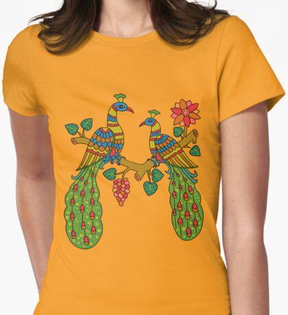 peacock in tree kalamkari yellow Womens Fitted T-Shirt