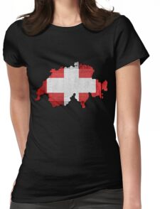 Switzerland Map Flag Womens Fitted T-Shirt