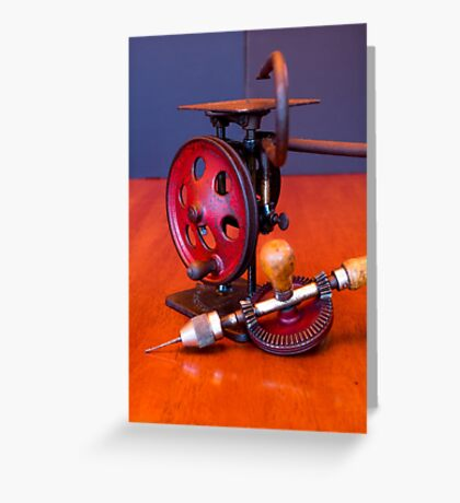 Vintage American Made Woodworking Scroll Saw And Hand Drill Greeting Card