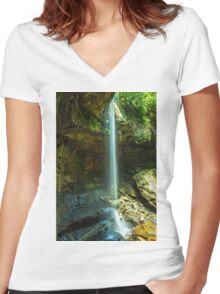 Ohiopyle Pa - Cucumber Falls Women's Fitted V-Neck T-Shirt