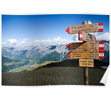 Alpine mountain peak in Bormio, Lombardy region of the Alps in northern Italy  Poster