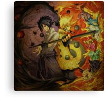 Naruto And Sasuke (Grunged) Canvas Print
