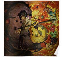 Naruto And Sasuke (Grunged) Poster