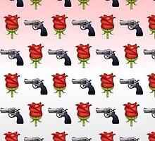Guns and Roses Emoji Pattern  by Rad Merch