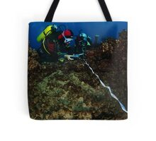professional Scuba divers perform an underwater survey of the Mediterranean seabed  Tote Bag