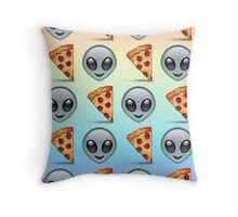 Alien Pizza Emoji Rainbow Pattern Throw Pillow