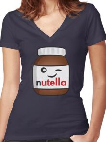 Nutella face 4 Women's Fitted V-Neck T-Shirt