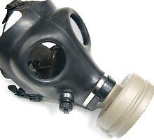 Cutout of a Gas Mask on white background elevated side view by PhotoStock-Isra