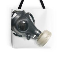 Cutout of a Gas Mask on white background elevated side view Tote Bag