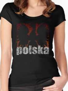 Polish Eagle Flame t shirt Women's Fitted Scoop T-Shirt