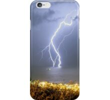 Lightning strikes the Mediterranean Sea.  iPhone Case/Skin