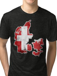 Denmark Flag Map Tri-blend T-Shirt