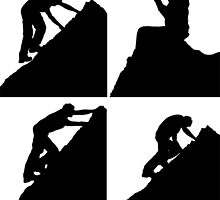 Set of silhouettes of a man climbing a rock by madigitalart