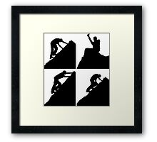 Set of silhouettes of a man climbing a rock Framed Print