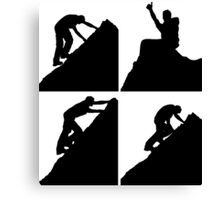 Set of silhouettes of a man climbing a rock Canvas Print