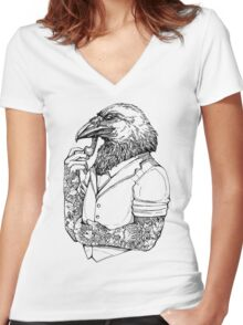 The Crow Man Women's Fitted V-Neck T-Shirt