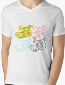 Primary Camera Grid Mens V-Neck T-Shirt
