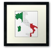Italy Flag Map Framed Print