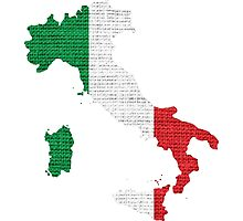 Italy Flag Map Photographic Print