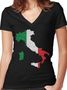 Italy Flag Map Women's Fitted V-Neck T-Shirt