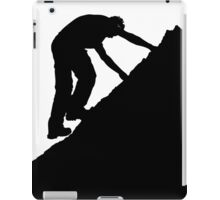 Silhouette of a man climbing a rock iPad Case/Skin