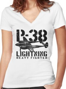 P-38 Lightning Women's Fitted V-Neck T-Shirt