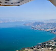 Aerial view of the Sea Of Galilee, Israel Kibbutz Ginosar in the centre  by PhotoStock-Isra