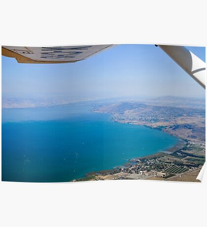 Aerial view of the Sea Of Galilee, Israel Kibbutz Ginosar in the centre  Poster