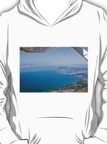 Aerial view of the Sea Of Galilee, Israel Kibbutz Ginosar in the centre  T-Shirt