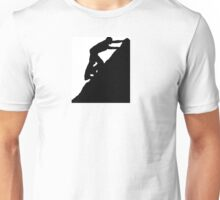 Silhouettes of a man climbing a rock Unisex T-Shirt