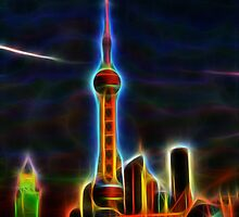 shanghai skyline wire flame fractal art by Moonlake