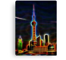 shanghai skyline wire flame fractal art Canvas Print