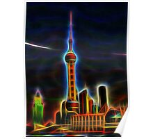 shanghai skyline wire flame fractal art Poster