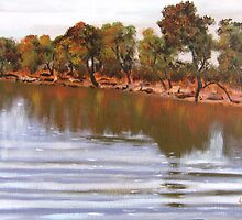 Lake in the Free State South Africa by Louise Henning
