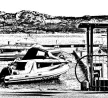 Island La Maddalena: sea landscape and boats Sticker