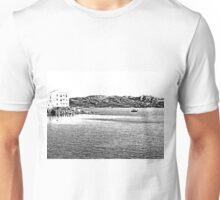 Island La Maddalena: sea landscape building and boats Unisex T-Shirt