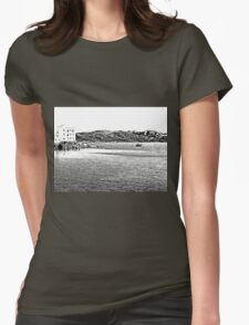 Island La Maddalena: sea landscape building and boats Womens Fitted T-Shirt