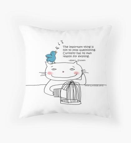 Einstein quote ... Curiosity / Cat doodle Throw Pillow